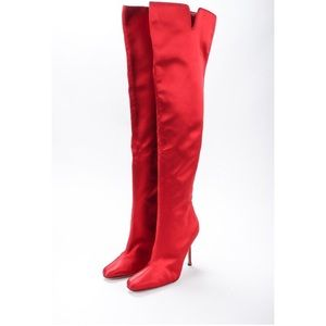 RARE! Manolo Blahnik Sating Over The Knee Boots
